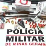 Armas apreendidas pela 75ª Cia da PM de Carangola durante ocorrência de ameaça