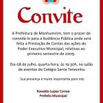 Prefeitura de Manhumirim convida para audiência pública.