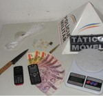 Drogas e armas apreendidas pela PM em Manhumirim.