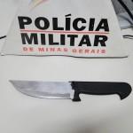Em Carangola, homem é preso acusado de ameçar a esposa com uma faca