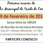 Convite - Reunião do Conselho Municipal de Saúde.