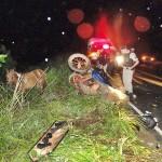 Charrete é atingida por duas motos em estrada da região e 3 pessoas ficam feridas.
