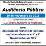 Conselho Municipal de Saúde de Carangola- Audiência Pública.