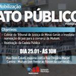 OAB Manhuaçu realizará ato público contra a falta de juiz em Mutum.