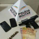 PM de Carangola efetua prisão de autor que portava uma pistola cal. 9mm de uso restrito.