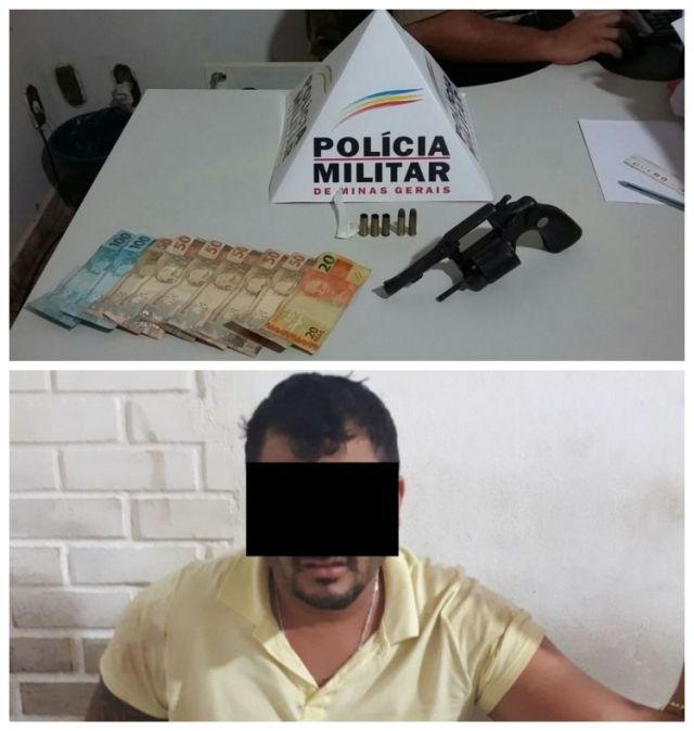 PM de Fervedouro prende homem por tráfico de drogas, porte ilegal, disparo de arma de fogo e resistência.