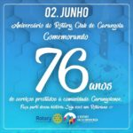 Rotary Club de Carangola comemora 76 anos de serviços prestados a Comunidade Carangolense.