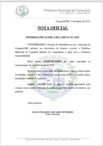 Prefeito de Carangola cancela carnaval 2020.