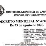 Decreto Municipal Nº 499/2020 de 23 de agosto de 2020.