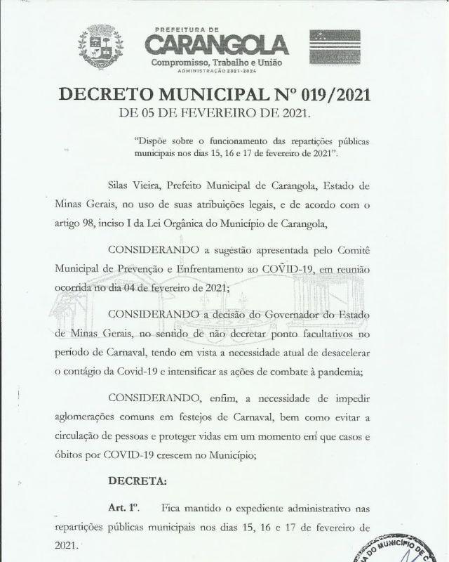 Decreto da Prefeitura Municipal de Carangola para os dias 15,16,17 de fevereiro.