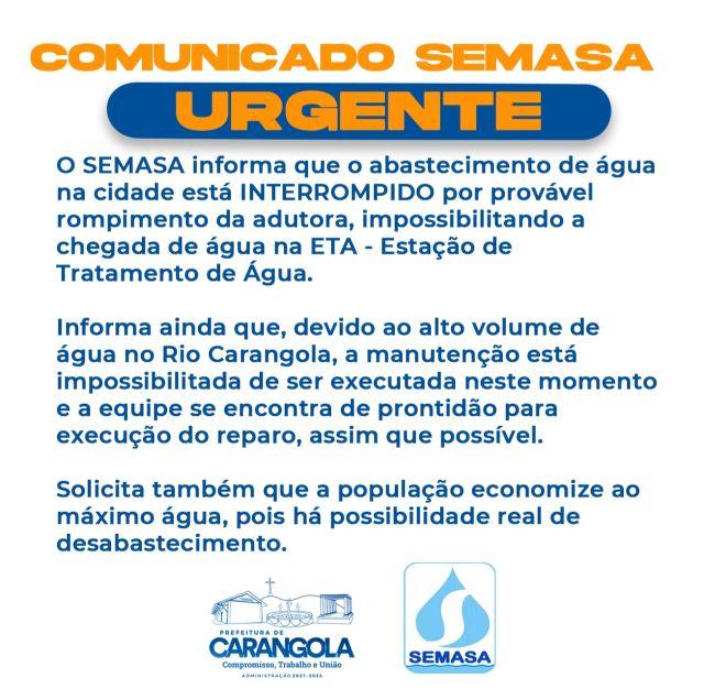 Comunicado Urgente do SEMASA